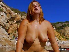 Obese babe rides a dick while onwards beach with her horny lover.