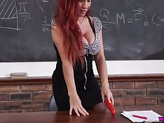 Super juggy teacher Faye Rampton is dildo making out sex-starved cunt
