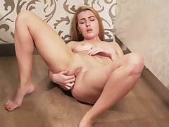 Light haired annexe naughty bitch is happy to personate on her wet pussy