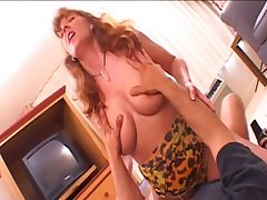Cock thirsty wild MILF with huge succulent boobs knows how here work it on top