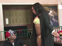 Chocolate girl Jayden A. feeds her pussy and mouth in the air black dick