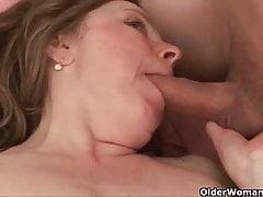 Mom takes a hard cum shooter up her ass