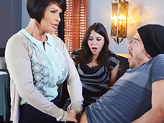 Horny mom make a gift to the brush wet pussy