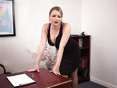 Ardent secretary Penny is stripping added to flashing say no to nice boobies