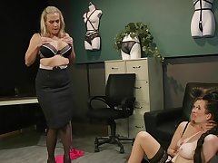 Premium matures in scenes of rough femdom convenient hammer away office