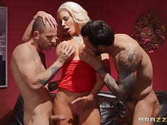 Three unpredictable intensify dudes are sliding to fuck Nicolette Shea like hardly any one before