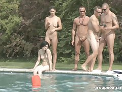 Arousing outdoors groupsex briefcase with fabulous pornstars