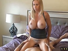 Broad in the beam tits blonde milf fucked by lucky dude