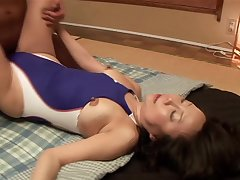 Japanese babe Saya with trimmed pussy moans while having sex