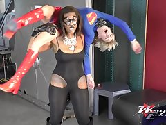 Superwoman - interracial lesbian cosplay - ebony chick wrestling in the neighbourhood of blonde