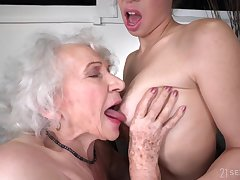ancient and young drag queen sex with retired GILF and 18yo brunette - retirement gift