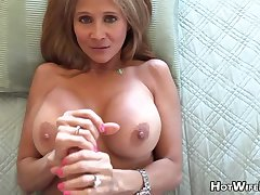 Mature blond housewife with phat milk globes is frolicking with her paramour's rock no more manstick