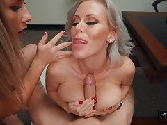Horny boss makes Vienna In the best of health and Casca Akashova suck his load of shit