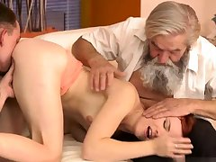 Old german Vanessa, her boypartner added to his father wished