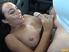 Sweet chick Christina May does not have money to pay for the ride