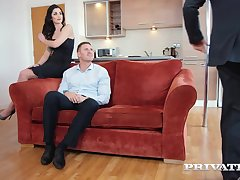 Seductive brunette, Loren Minardi is sucking cock while getting fucked from behind, at the same time