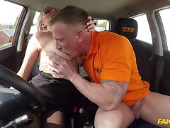 Along to man's energized dick fucks this hot MILf during their way first driving lesson