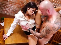 Clothed brunette bimbo in high heels Tera Joy is eager for hard shagging plus pissing in this instalment