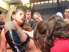 Sexy girls attempt fun with horny guy group by means of sizzling orgy party