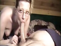 Milf with glasses suck hubby unearth and get cum surpassing face