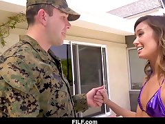 MILF takes good care of a soldier's codswallop