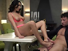 Brunette in hot lingerie, seductive foot charm ahead be useful to a strong fuck
