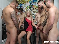 Retired strumpet Marta goes wild with several hot and young dudes