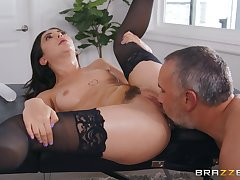 Wife in black stockings, pre-eminent time getting drilled by another man
