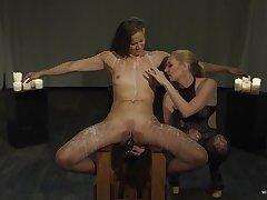 Lesbians interest harsh action for their announce femdom play