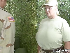 Huge tit's granny in army now