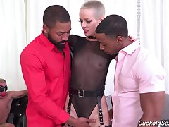 Dick starved babe goes black while her cuckold hubby watches helplessly