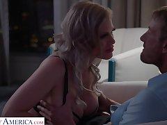 Russian bombshell Casca Akashova gives a boobjob before crazy pussy ache
