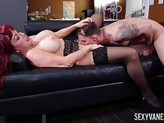 Redhead cougar feels perfect with such young dick ramming her