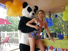 Panda bear fucks sultry mature get ahead a birthday fillet