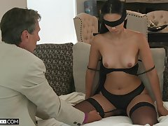 Blind-folded wife fucked by a guy older than her, her hubby's old man