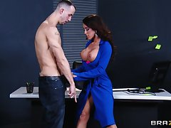 Hardcore shafting on the office table with stunning Capri Cavanni