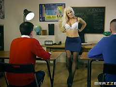 Young lads show their teacher tiptop threesome she unceasingly had