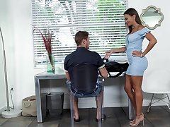 Hot stepmom in a skin tight-fisted attire gives her stepson a stress relieving blowjob