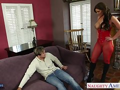 Stunning busty brunette MILF with sexy plunder fucks sideways for scale