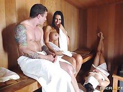 Busty nude MILF gets big Daddy prevalent onwards sauna