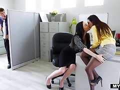 An sentence musts his king kissing her employee and then he engages in a 3some