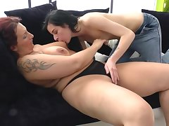 Mature Lesbian Playing With A Horny Youn
