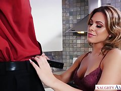 Horny pauper Tyler Steel fucks GF's sexy friend right in the cookhouse