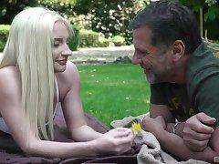 Deific blonde goddess Angela Vital enjoys outdoor sex with an older man