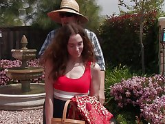 Long haired mature with a hairy cunt, superb backyard porn with her neighbor