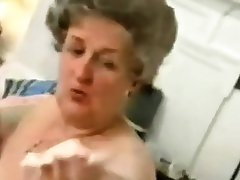 Elderly Granny  Striping off Her  Underclothes  added to  Playing