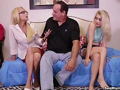 Throating the girlfriend with an increment of her slutty mom