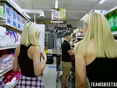 Blonde babes Jessie Saint and Sloan Harper drop rags of sexual connection