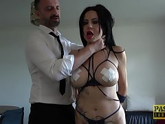 Tied up slave girl Damaris gets rough fucked in tight asshole