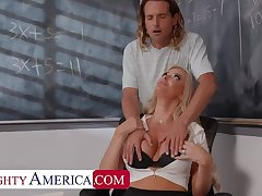 Naughty America: Big tit professor, Linzee Ryder, fucks her aide about relieve stress on PornHD
